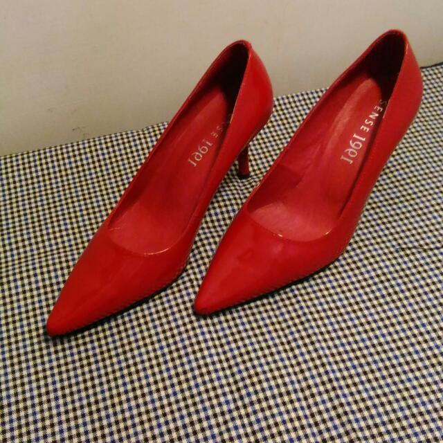 全新1991紅色高根鞋