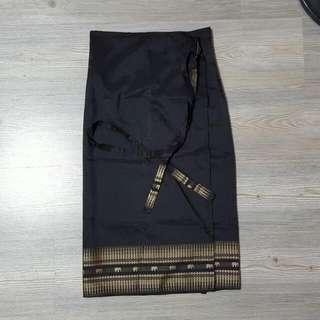 Thai Silk Wrap Skirt (Black)