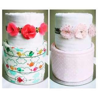 """2-Tier """"Little Girl's Headband"""" Nappy Cake Design"""