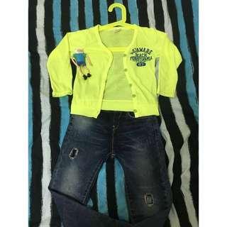 韓版銀光黃小罩衫 寶寶也需要遮陽唷  顯瘦韓版牛仔褲