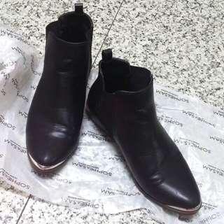 hophip&sam 黑色皮革短靴 歐美搖滾風