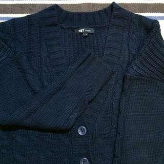 🚀含運 NET 深藍 麻花粗針織 毛衣外套 換季穿搭