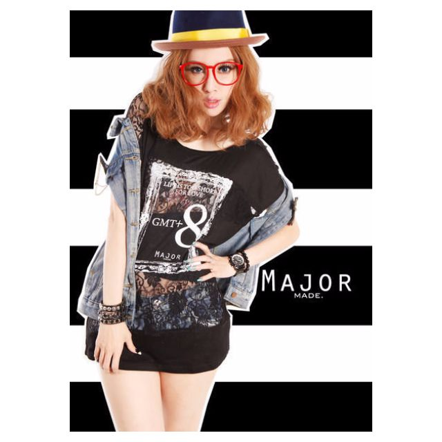 9MELLOW .【 MAJOR MADE.】 MJR  GMT+8 Je T'aime LACE SPLICE 蕾絲TEE【XS】