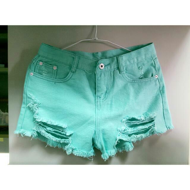 藍綠色丹寧短褲