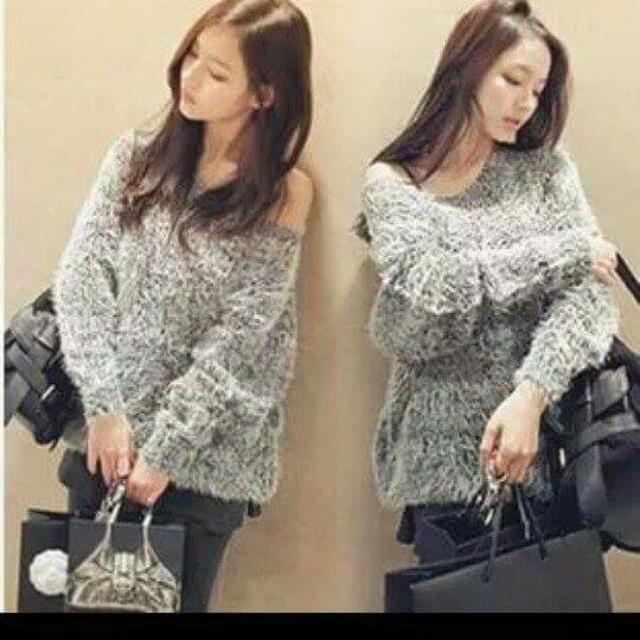 全新灰色保暖針織毛衣