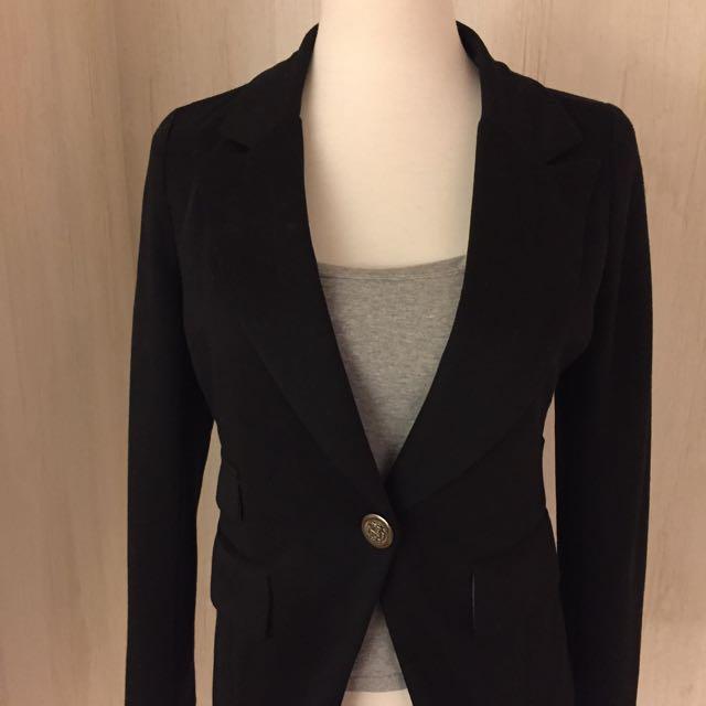 黑色棉質合身外套
