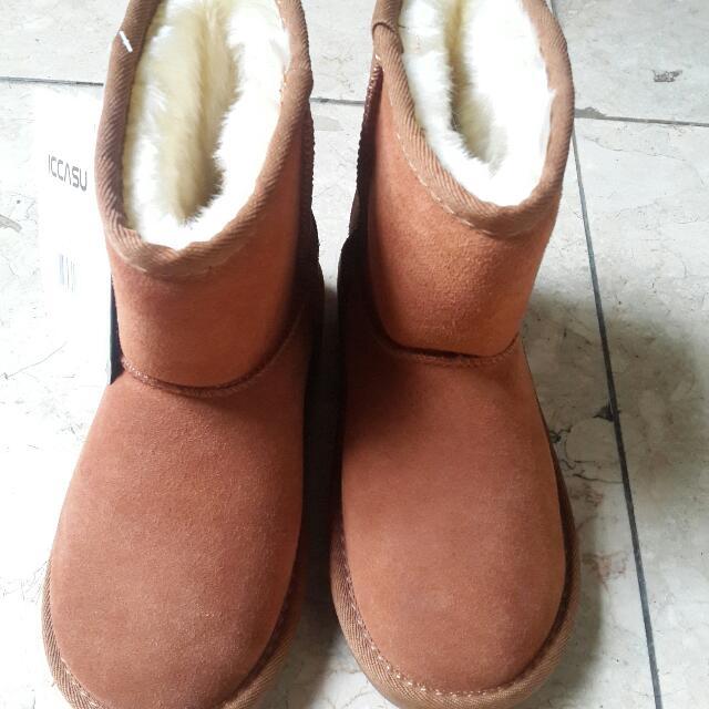 兒童牛皮保暖雪靴