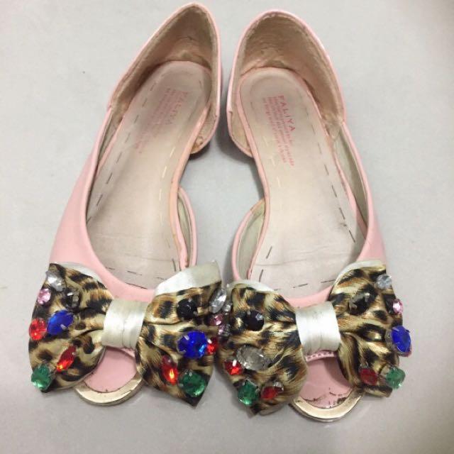 寶石彩鑽豹紋大蝴蝶結粉色平底鞋