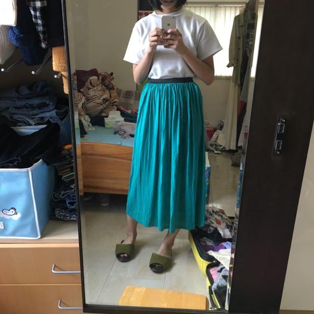 正韓 綠色彈性長裙