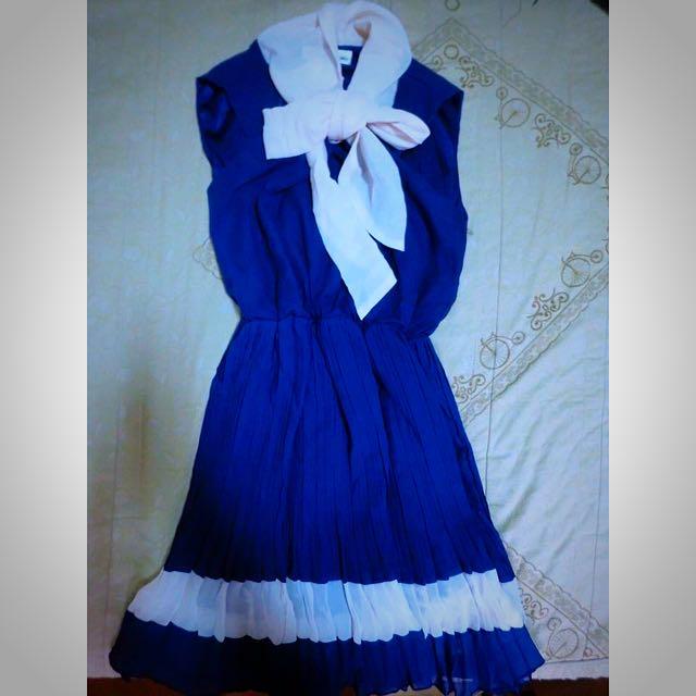 全新 復古百摺連身裙洋裝