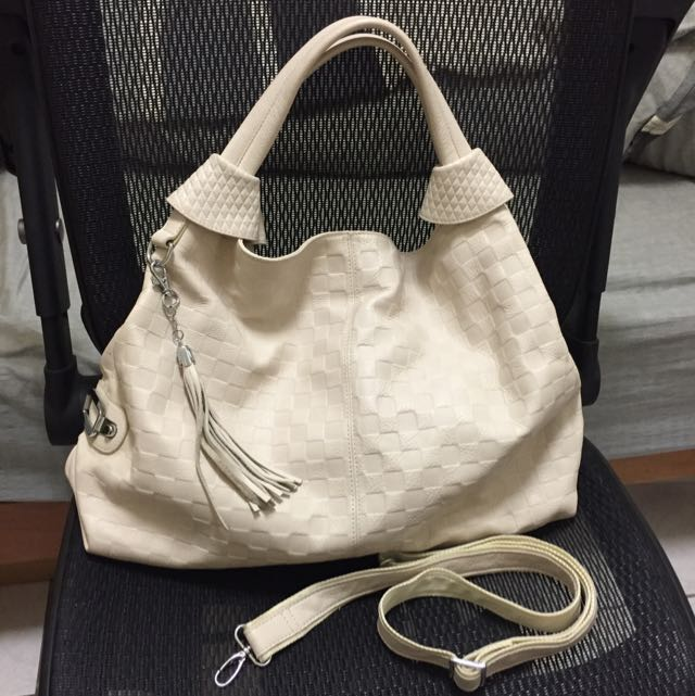 真皮✨大容量 米白色兩用包/皮包/側背包/手提包