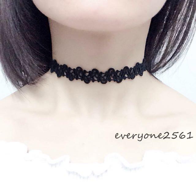 日韓復古 黑色蕾絲 波浪蕾絲 頸鍊項圈項鍊 現貨