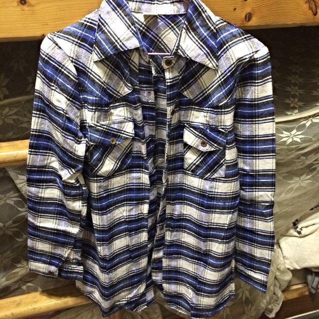✨全新 LULUS 藍白格紋襯衫 秋裝