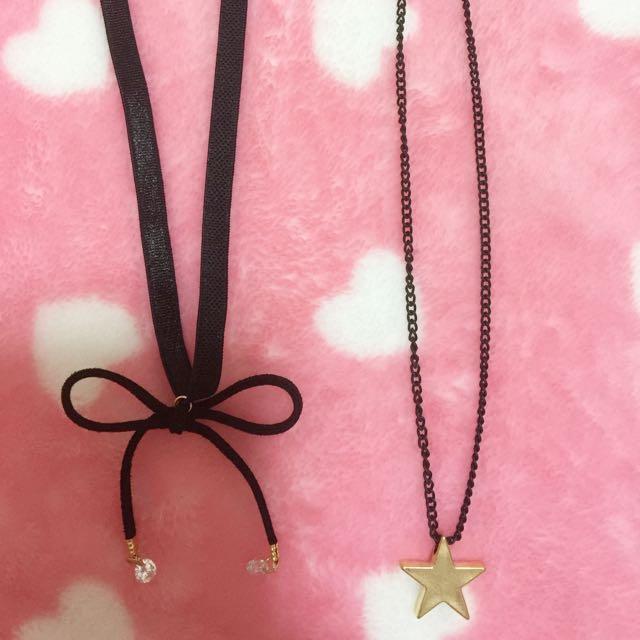 韓國帶回 蝴蝶結珠珠+星星star項鍊 Set