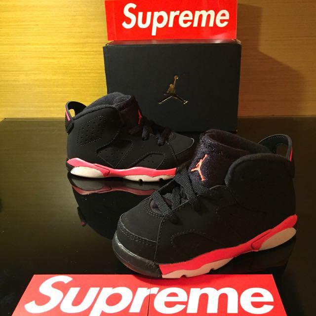 6095f4e4cedfa8 Air Jordan Baby TD AJ6 Black Infrared Size 6.5-10
