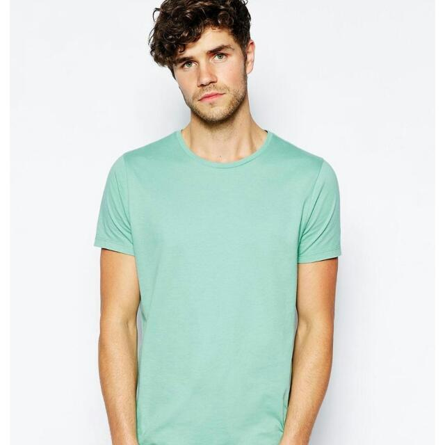 78a556282 Asos T-shirt With Crew Neck - Green, Men's Fashion on Carousell