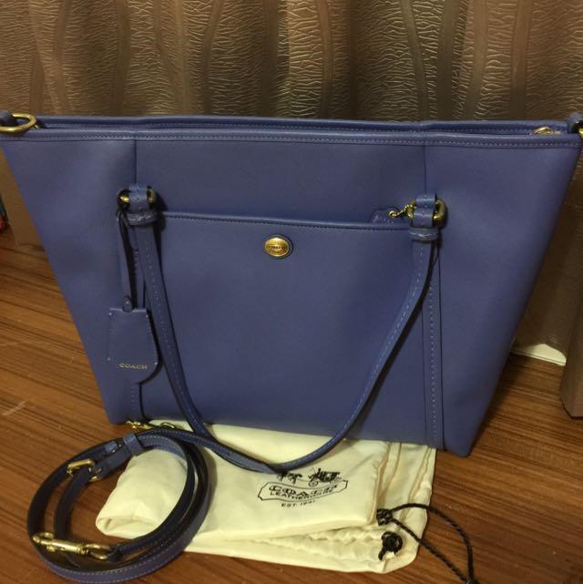 COACH藍紫色牛皮防刮紋兩用包