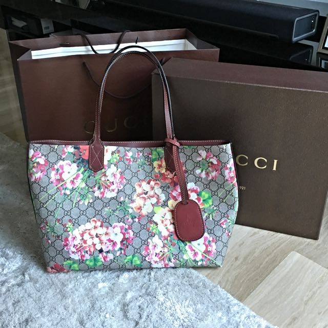 b21d0e9ea9a GG Blooms Large Reversible Leather Tote Bag