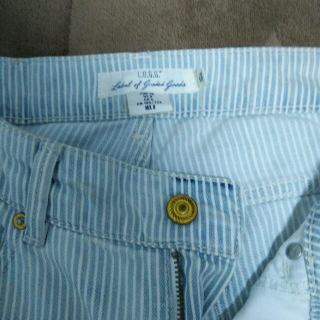 筆藝洋行-H&M直條紋淺藍色Boyfriend寬鬆男友風牛仔褲