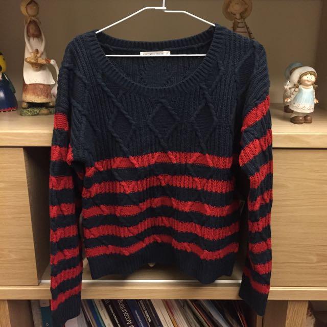 Pazzo 菱格藍紅條紋毛衣 #你喜歡我送你