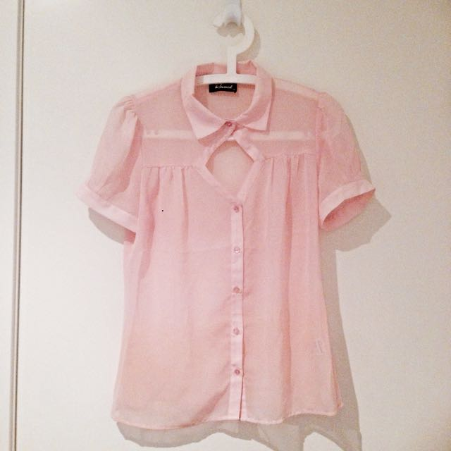[PENDING] Sheer Front Cut Out Pastel Pink Top
