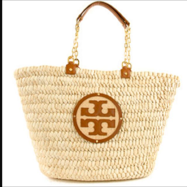 3f078cb44ca Authentic Tory Burch Audrey Straw Tote Bag