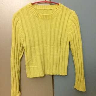 坑條短版毛衣