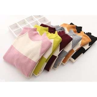 「預購」X8835【拼色橫條立領針織衫毛衣】