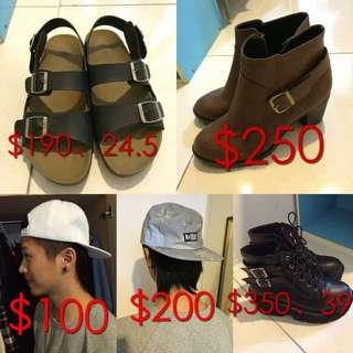 踝靴、白帽、厚底鞋