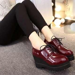 紅色厚底鞋 含運