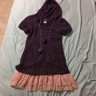 Purple Winter Hoodie Dress