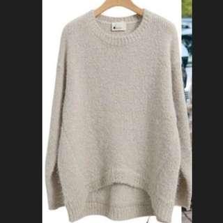 韓國 駝色前短後長針織毛衣