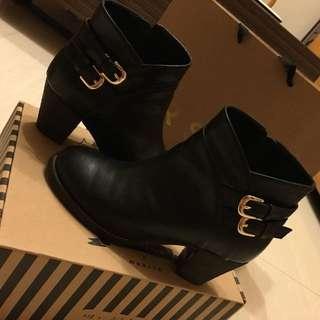 歐美金屬側釦短靴 38