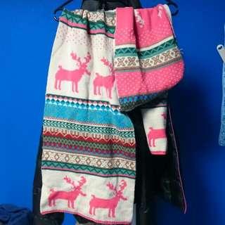 正反兩面圖騰麋鹿圍巾