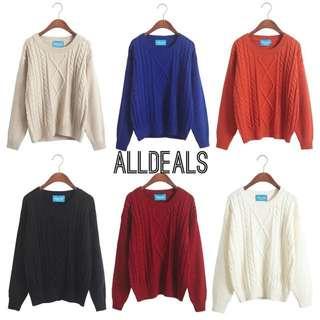 全新韓版6色麻花寬鬆針織毛衣✨✨