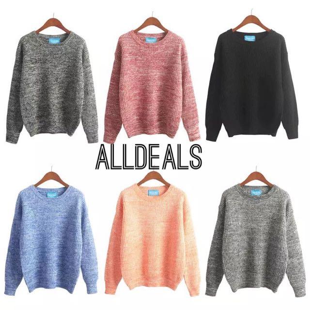 全新韓版6色混色顯瘦寬鬆針織毛衣✨