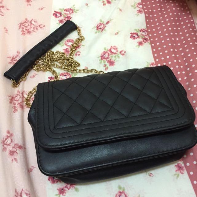 經典黑菱格紋側背包(9成新)