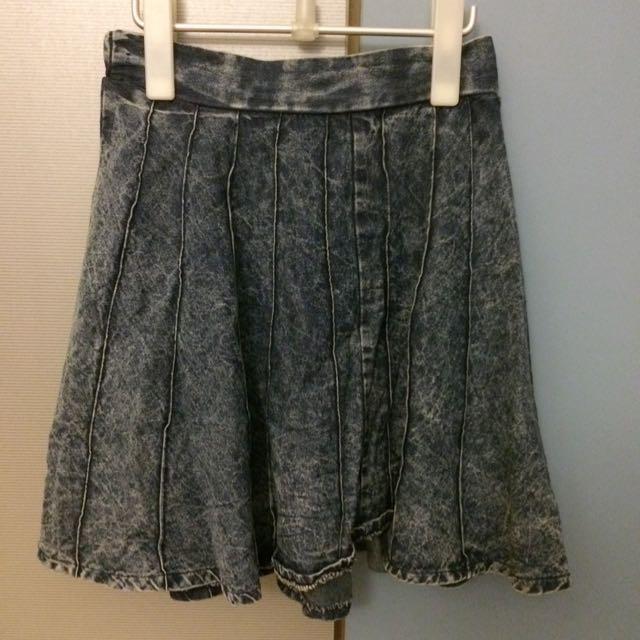 牛仔水洗直紋傘裙