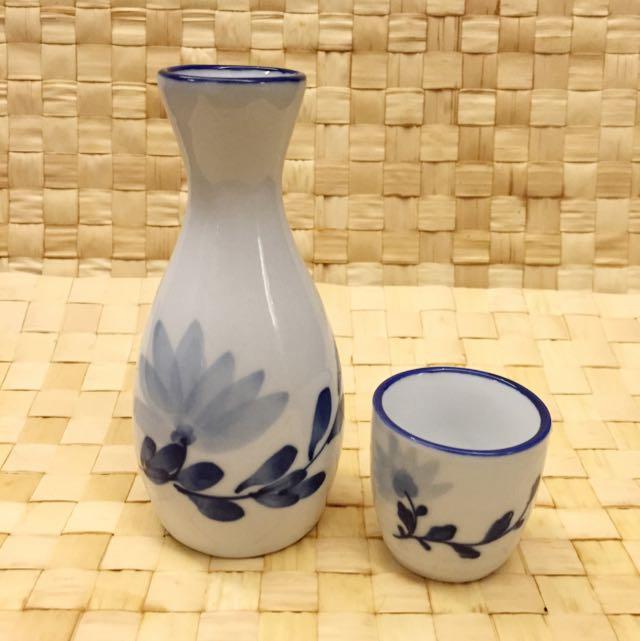日式風雅清酒瓷壺+瓷杯一人組