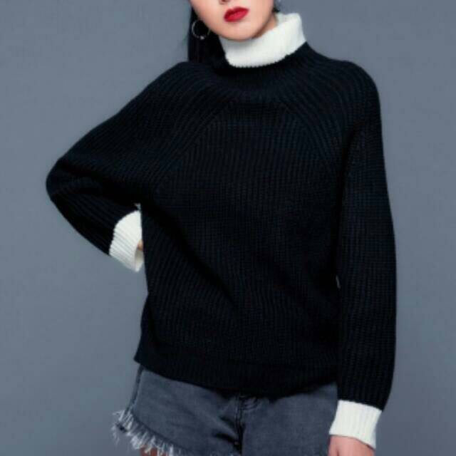 黑白撞色拼接毛衣