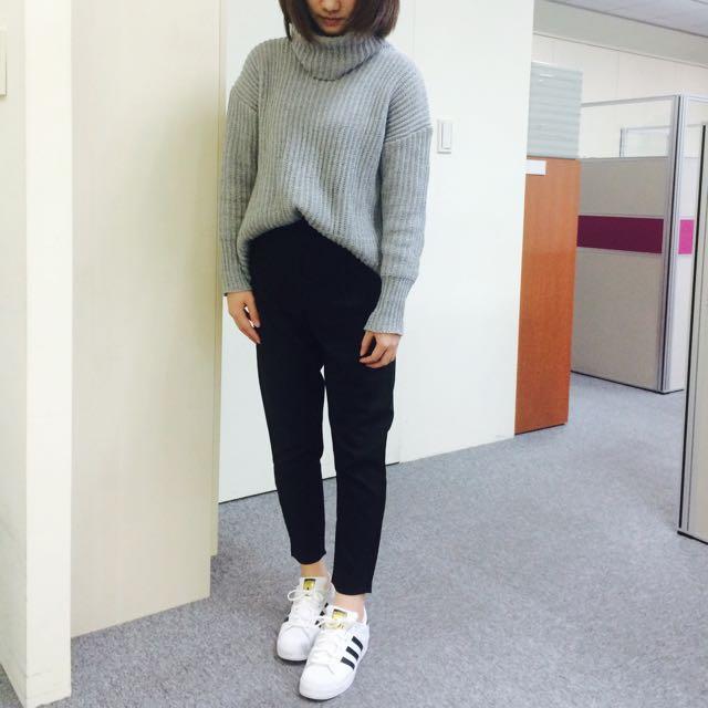 高領毛衣-灰