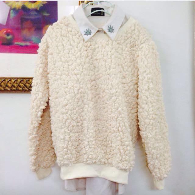 暖棉棉保暖仿綿羊上衣