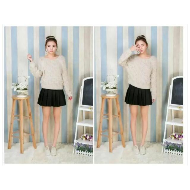 黑色百折短裙