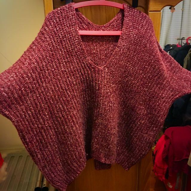 飛鼠袖厚針織毛衣