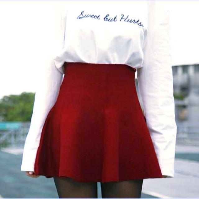 針織圓裙 傘裙 酒紅