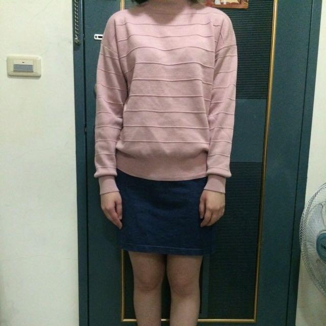 粉色羊毛小立領