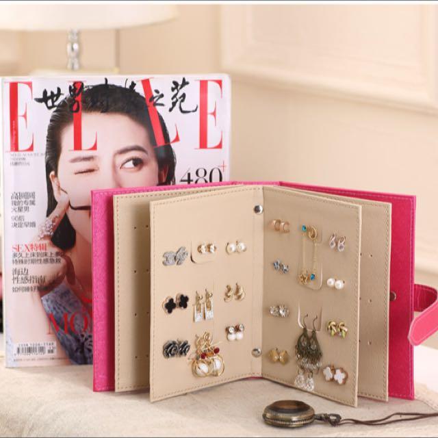 耳環收納書本 韓國創意首飾品收納盒 展示盒冊架板首飾盒