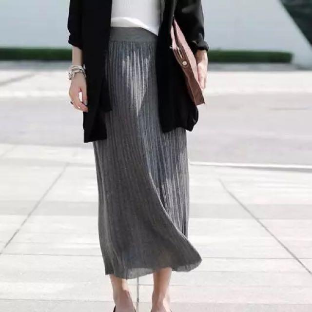 自留款 文藝 灰色 針織百褶裙