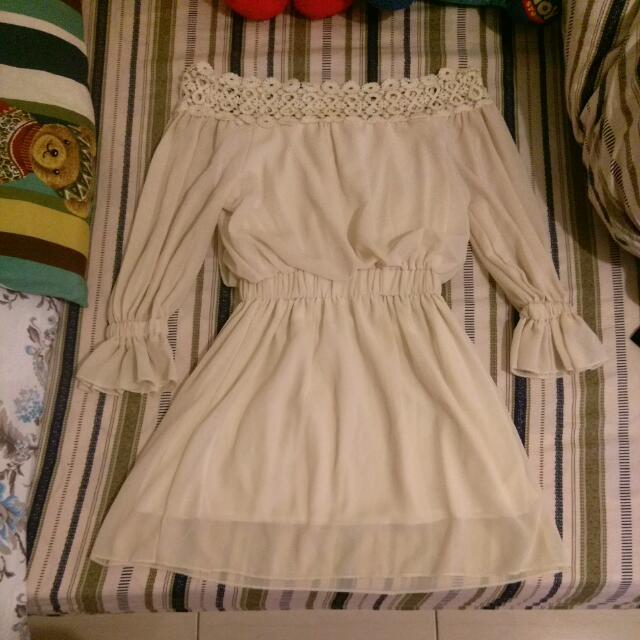 一字領 七分袖 雪紡短洋裝 米色
