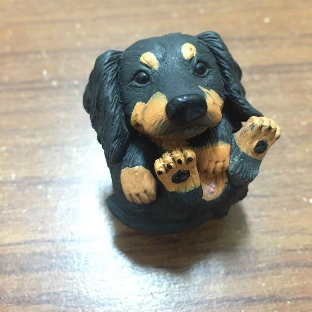 圓滾滾系列 黑色臘腸犬 狗 轉蛋 玩具公仔